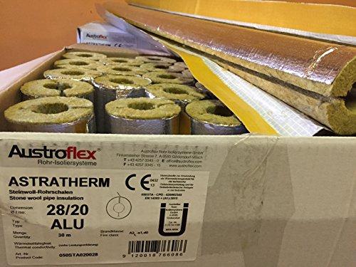 Austroflex Rohrisolierung 28 x 20mm voller Karton 30m Inhalt (1,79€/Meter) Rohrschalen alukaschiert Steinwolle Mineralfaserschale Isolierung