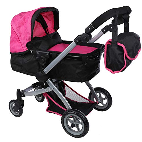 Mommy & Me Babyboo Deluxe Doll Pram with Swiveling Wheels & Adjustable Handle & Free Carriage Bag - 9651B Pink