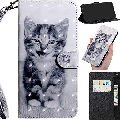 DodoBuy 3D Hülle für Asus Zenfone Max Pro M2 ZB631KL, Flip PU Leder Schutzhülle Handy Tasche Brieftasche Wallet Hülle Cover Ständer mit Kartenfächer Trageschlaufe Magnetverschluss - Katze