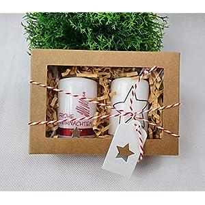 """2 St. Weihnachtskerzen – kleines Mitbringsel""""Frohe Weihnachten"""" in Geschenkbox"""