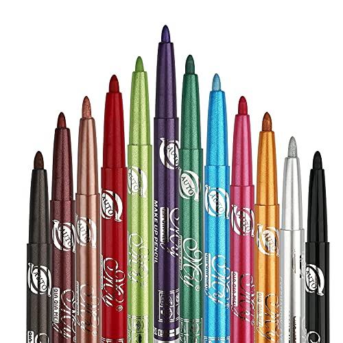 12 Eyeliner couleur,Eyeliner étanche, Couleurs Crayon Eye-liner, Eyeliner liquide,paupières Crayons à sourcils Stylo cosmétique Kit de Kit de maquillage