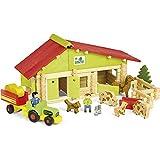 Jeujura - 8053- Jeux de Construction-Ferme avec Tracteur et Animaux - 140 Pieces