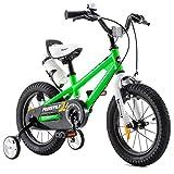RoyalBaby Bicicletas Infantiles niña niño Freestyle BMX Ruedas auxiliares Bicicleta para niños 14 Pulgadas Verde