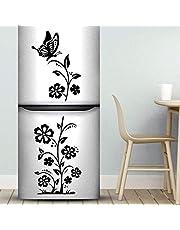 Pegatinas de pared para nevera, diseño de mariposas y flores, decoración de cocina, decoración de cocina, recámara, decoración de compras, pósteres de salón, muebles decorativos de vinilo para