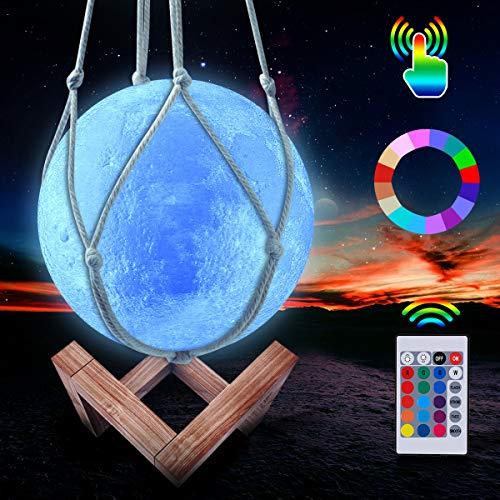 Mond Lampe, Kangtaixin LED 3D Wiederaufladbares Nachtlicht, 16 Farben Dimmbare Galaxis Lampe Fernbedienung und Touch Steuerung, mit Holzständer und hängendem Netz (15 cm)