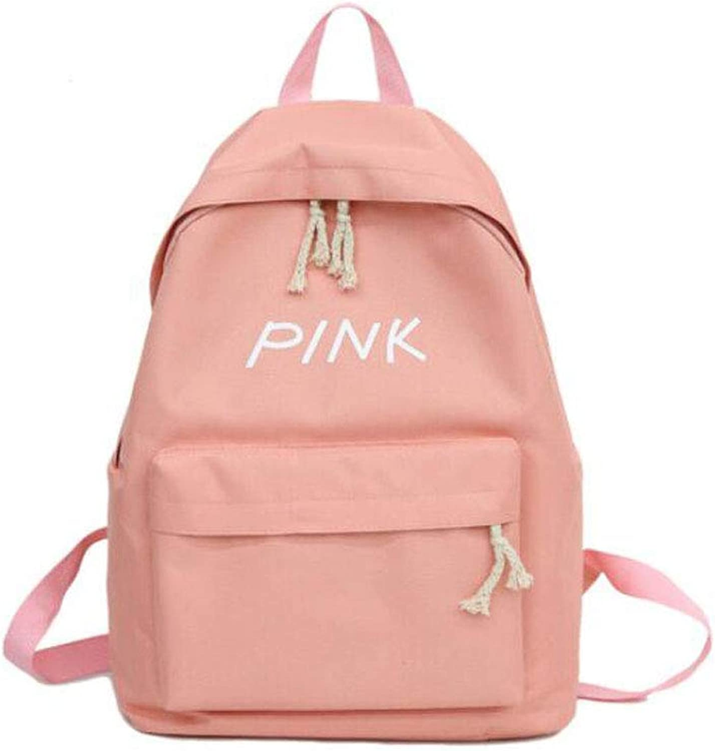 Solid color Canvas Women's Backpack  Lightweight, Compact, Pink (color   Pink)