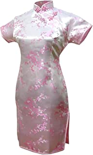 7Fairy レディース ピンク 淡紅色 チャイナ ドレス 旗袍 ミニ 花