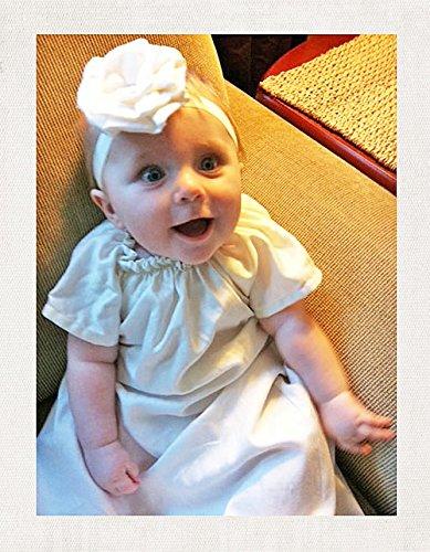 ベビードレス☆シンプルロングガウン「SHILOH」出産祝い・赤ちゃんのセレモニー衣装に退院時新生児ベビーに着せたいシンプルなドレス。フリフリの総レースが苦手なママさんに選ばれています。