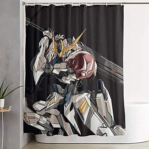 Mobiler Anzug Gundam Seed-Tekkadan Anime Duschvorhang mit Haken Wasserdichter Duschvorhang aus Polyestergewebe für Badezimmerduschen und BadewannenMobile Suit Gundam Seed-Tekkadan Anime Shower Curtain