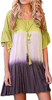Women's Gradient Color Mini Dresses Ruffle Half Sleeves Loose Pleated Shirt Dres