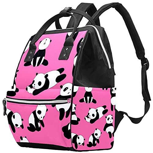 WJJSXKA Mochilas Bolsa de pañales Laptop Notebook Mochila de Viaje Senderismo Mochila para Mujeres Hombres - happy pink panda
