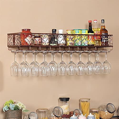 Parete in Ferro Appeso per Vino Portabicchieri Portabicchieri Holder Goblet Armadio da Vino, Occhiali invertiti Portabicchieri Forniture da Cucina (Color : Bronze, Size : 100 * 25 * 16cm)