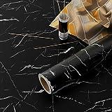 YENHOME Papel de contacto de mármol para papel de contacto de 30 x 118 pulgadas, papel de contacto negro para gabinetes, encimeras, para papel pintado de cocina, papel pintado extraíble autoadhesivo...