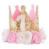 Birthday Hat First 1st Decorations for Girl Gifts Rose Gold Baby Pink Crown Party One Year Old Princess