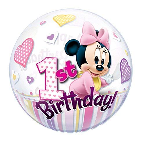 Qualatex 12862 Mickey & Friends Ballon en latex pour 1er anniversaire Motif Minnie Mouse 56 cm