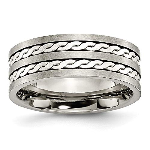 Titanium 925 Sterling Silver Braided Inlay 8mm Brushed Wedding Ring Band Size 12.00 Precious Metal Fine Jewelry For Women Gifts For Her