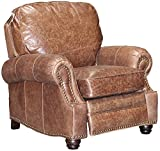 BarcaLounger Longhorn II Leather Recliner Havana Brown Top Grain Leather Chair with Espresso Wood Legs - Standard Ground Curbside Delivery in Lower 48 States Only
