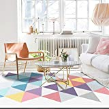 La alfombras Múltiples tamaños Alfombras Alfombra de Sala de Estar con patrón de triángulo geométrico púrpura Azul Amarillo Rosa Múltiples tamaños Resistente a Las Manchas Suelo Alfombras 40*60cm