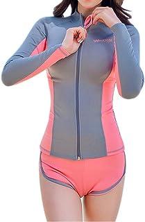 ラッシュガード [Marshel] レディース 3点セット UVカット 長袖 水着 ピンク×グレー M-XLサイズ