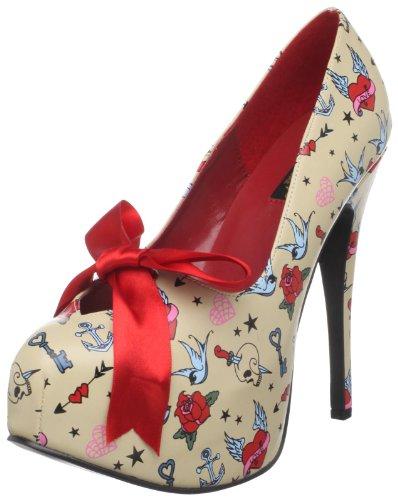Pinup Couture - zapatos de tacón mujer, Cream Pu (Tattoo Print), 40