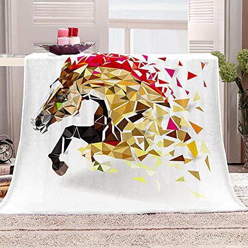 Mantas para Sofa De Franela 3D Figura geométrica de Caballo Manta con Estampados para niños Adultos Manta de Microfibra Suave cálida para Cama sofá y Viaje 100x130cm