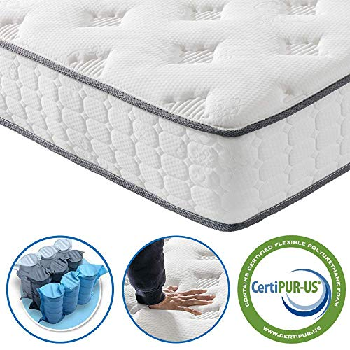 Vesgantti Matratze 90x200 Federkernmatratze 7-Zonen Taschenfederkernmatratze Modern Tonnentaschenfederkernmatratze Comfort Boxspring Mattress (H3, Fashion Tight-top 24cm)