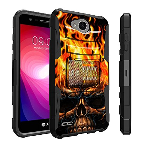 Untouchble Case for LG X Power 2 Case, LG Fiesta LTE Holster Case, LG X Charge Case [Heavy Duty Clip] Dual Layer Rugged Hybrid Armor [Kickstand] [Swivel Holster] - Skull on Fire