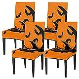 Juego de 4 fundas de silla para comedor, diseño de cráneo de bruja de Halloween, fundas de silla lavables, protector de asiento extraíble para cocina, hotel, restaurante fiesta ceremonia