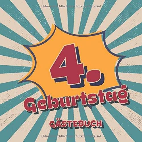 4. Geburtstag Gästebuch: Retro Style Geburtstags Party Gäste Buch für Familie und Freunde um...