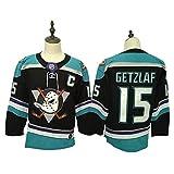 Yajun Corey Perry#10/ Ryan Getzlaf#15/Ryan Kesler#17 Anaheim Ducks Camisetas Hockey Jersey sobre Hielo NHL Hombre Ropa Respirable T-Shirt de Manga Larga,15-Black-Blue,2XL/56