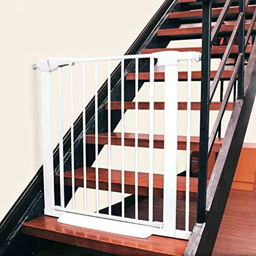 Great Deal! ZAQ Pressure Gates for Stair Doorway - Extra Wide White Metal Safety Gates, Indoor Hallw...