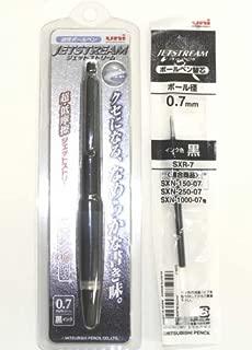 Uni-ball Alpha-gel Jetstream Fine Point Retractable Roller Ball Pens, 0.7mm black Body Black Ink & Pen Refill Set