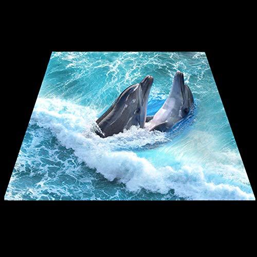 Msrahves Fotomural Vinilo Océano olas animales delfines Fotomurales para Paredes Mural Vinilo Decorativo Decoración comedores,Salones, Habitaciones