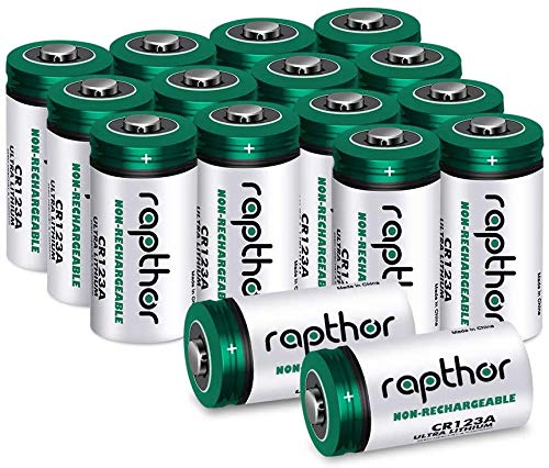 Batteria al litio CR123A 3V [pacco 161650mAh] per Arlo, fotocamere Polaroid, torce elettriche, alta capacità con protezione PTC [non ricaricabile]