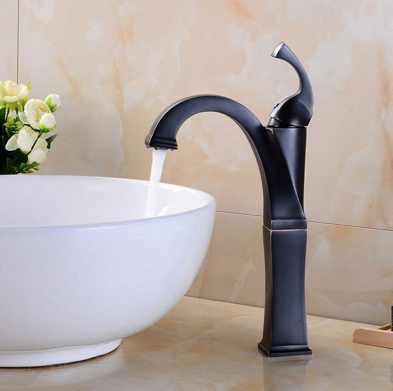 GONGFF Waschtischarmaturen Wasserhahn Europische schwarzbronze über aufsatzbecken Wasserhahn Retro Bad waschbecken heien und kalten Wasserhahn Quartet einlochmontage Wasserhahn mischwasserhahn wa