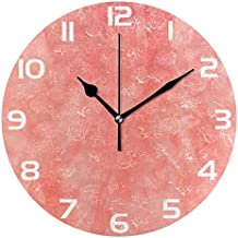 ALAZA Vintage Coral Color Round Acrylic Wall Clock, Silent Non Ticking Oil Painting Home Office School Decorative Clock Art