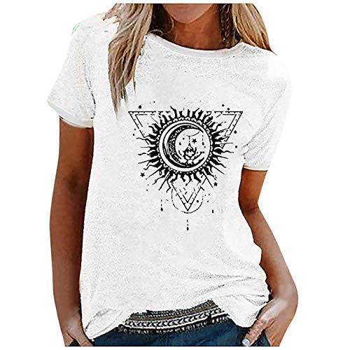 Dosoop Womens Short Sleeve Tops,Womens Loose T-Shirts Casual Sun Moon Print Short Sleeves O-Neck Blouse Tops Funny Shirts