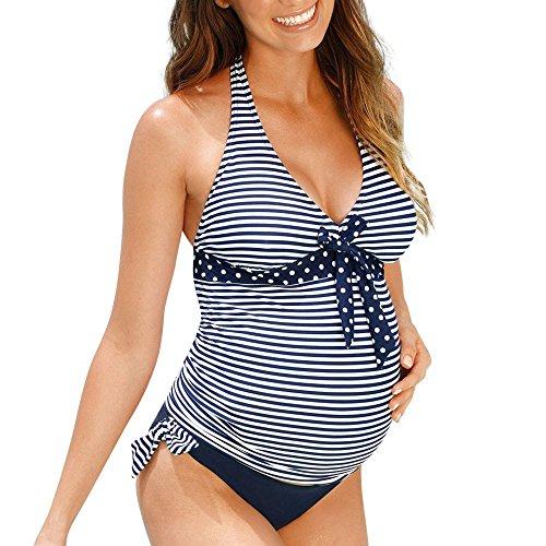 LUNULE VENMO Traje de baño de Maternidad bañadores Premamá para Mujer Rayas Tankini de 2 Piezas Embarazada Bikini Trajes de baño Mujer 2019 Dos Piezas Bandeau Ropa Premamá
