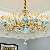 Nuevo candelabro de cerámica de estilo europeo ambiente de lujo sala de estar candelabro de cristal creativo edificio dúplex comedor dormitorio luz de velas