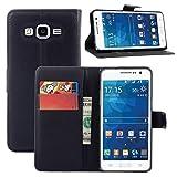 COPHONE® Funda de Cuero Negro Samsung Galaxy Grand Prime G530F. Funda Protectora Funda Monedero...