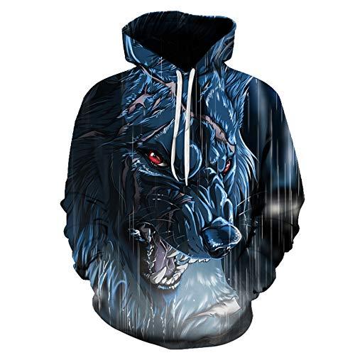 yanghuakeshangmaoyouxiangong Herbst Und Winter 3D Wolf Digitaldruck Hoodie Rundhalsausschnitt Lose Casual Herren Pullover