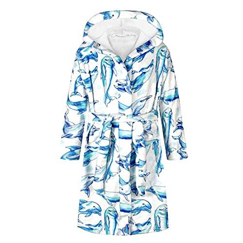 Teen Kids Boys Girls Hooded Warm Flannel Fleece Towel Robe Bathrobe Soft Pajamas Sleepwear,Long Sleeve Tops Blue