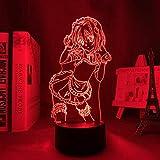Luz nocturna 3D LED Anime Toujou Koneko, lámpara 3D High School DxD LED Night Light para niñas y niños, decoración de habitación tujou Koneko, Navidad, cumpleaños, manga, lámpara de mesa de 7 colores