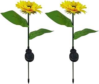 Mobestech 2PCS Solar Garden Stake Lights Led Sunflower Lights for Lawn Garden Decor