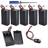 GTIWUNG 6 Pezzi 9V Custodia per batterie Custodia per batterie in plastica con interruttore ON/OFF, 6 x Supporto Connettore Clip per Batteria 9V con 15cm cavo (Nero)