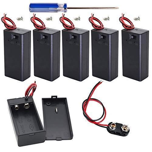 GTIWUNG Caja de batería de 9V Caja de Almacenamiento de batería de plástico con Interruptor de Encendido/Apagado y Conector Clip de la batería 9V