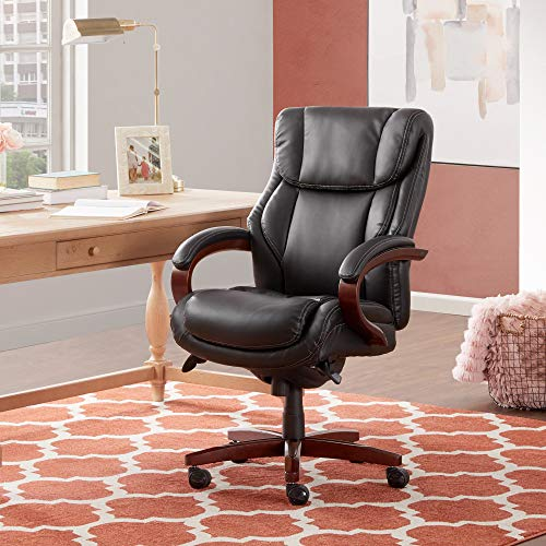 La-Z-Boy 45783A Bellamy Bonded Leather Executive Office Chair with Memory Foam Cushions, Black