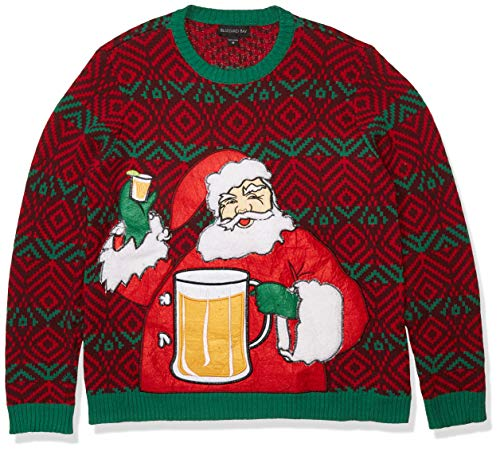 Blizzard Bay Men's Ugly Christmas Sweater Drink Pocket, Red/Green, Large