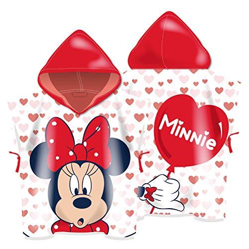ARDITEX WD13589 Poncho de Microfibra con Capucha de 55X55cm de Disney-Minnie