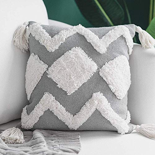 MeMoreCool Cushion Covers, Decorative Throw Pillow Case Boho Grey Square Pillowcases with Tufted Tassel Invisible Zipper for Sofa Couch Bedroom Livingroom, Soft Cotton Pillow Covers 45x45cm